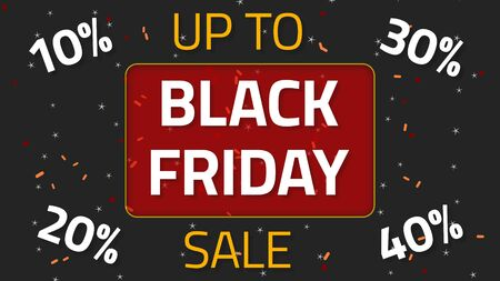 Black Friday Sale animation with up to 10,20,30 and 40 percent, over dark background