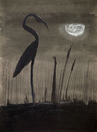 Flamingo silhouette in front of the full moon