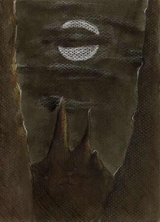 Cat face illusion on a hill at cloudy night with the full moon, coloured pencil on canvas Stok Fotoğraf