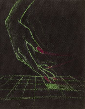 Hand drawn colored pencil illustration of a woman hand on holografic surface