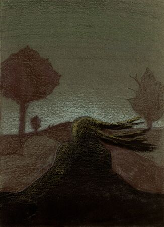 Illusive silhouette of a woman whom hair flowing in the wind blending with the country road, coloured pencil illustration on canvas