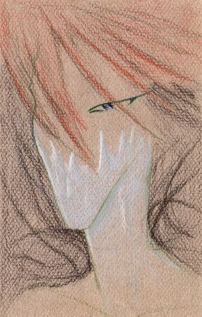 Red-haired male elf portrait which has a frozen face, hand drawn on canvas with coloured pencil