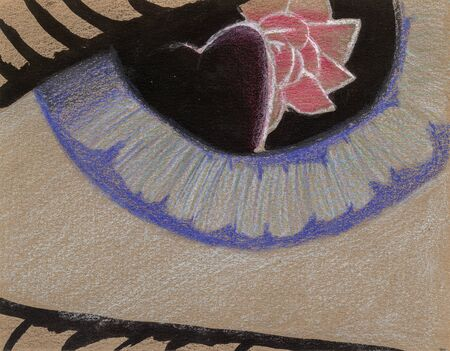 Heart and rose reflection on a blue eye, painted with coloured pencil on canvas
