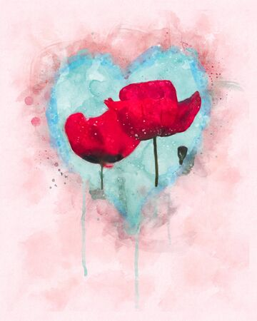 Watercolor illustration of beautiful red poppies in the blue heart shape. Remembrance Sunday & Valentine's Day background.