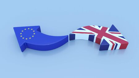 Brexit, UK & EU Flags in arrow shape pointing opposite directions Stok Fotoğraf