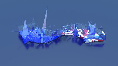 Brexit, UK & EU Flags in broken glass arrow shape pointing opposite directions