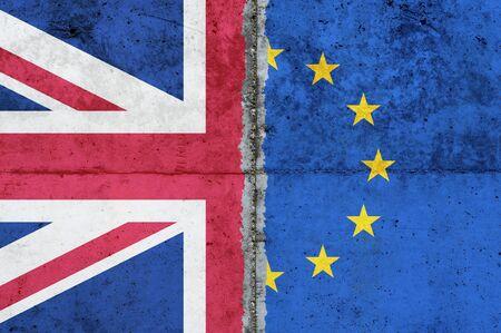 Brexit, UK & EU Flags on aged wall texture Stok Fotoğraf