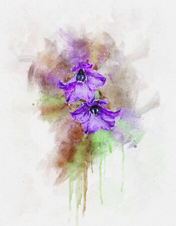 Watercolor illustration of purple flowers in the wild nature