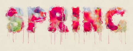 Watercolor spring text illustration containing red, green and blue color flowers Stok Fotoğraf