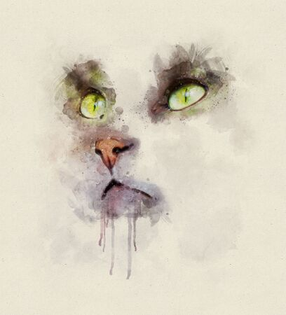 Watercolor portrait illustration of a domestic cat with green eyes