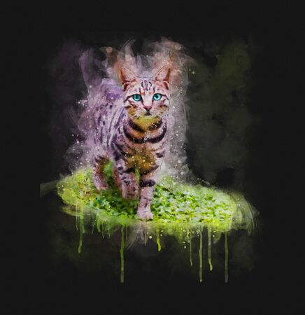 Watercolor illustration of a cat walking on green grass on dark background