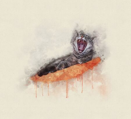 Watercolor illustration of a cat yawning while lying on pillow
