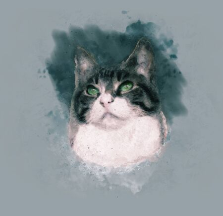 Watercolor portrait illustration of a  domestic brown and white cat with green eyes