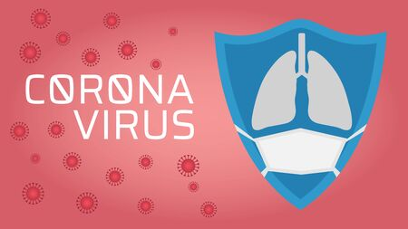 Protect from Coronavirus concept, blue shield with lung icon wear face mask