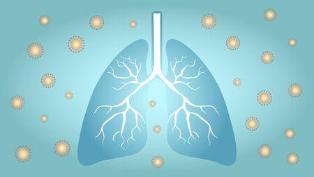 Corona virus surrounds human lungs, blue color concept