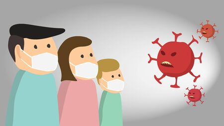 Family protecting theirslves with facemask from Coronavirus Vecteurs