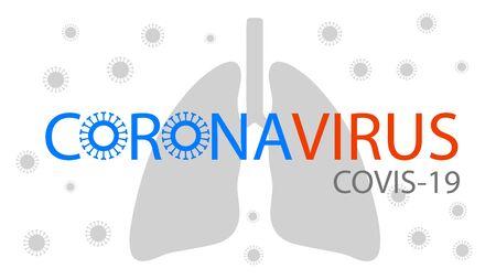 Coronavirus text with virus symbol over human lung surrounded by Coronovirus Çizim