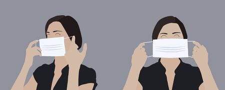Realistic illustration of a young woman putting on a medical mask, side and front view