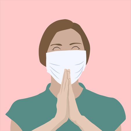 Realistic illustration of a young woman praying for cure, wearing a medical mask Çizim