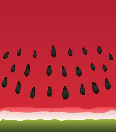 Minimal stylistic vector illustration of a juicy red watermelon slice Çizim