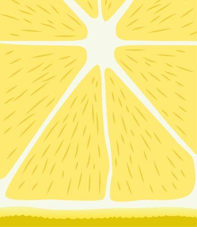 Minimal stylistic vector illustration of a juicy yellow lemon slice Çizim
