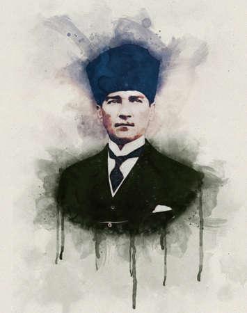 Watercolor portrait illustration of Mustafa Kemal Ataturk
