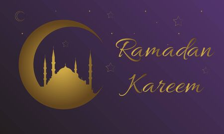 Ramadan Kareem Message with blue mosque silhouette in a crescent over a purple background. Islamic pattern
