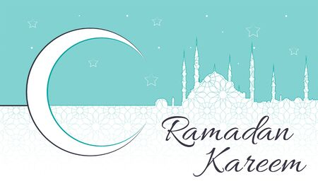 Ramadan Kareem Message with blue mosque silhouette and a crescent over a light background with teal sky. Islamic pattern