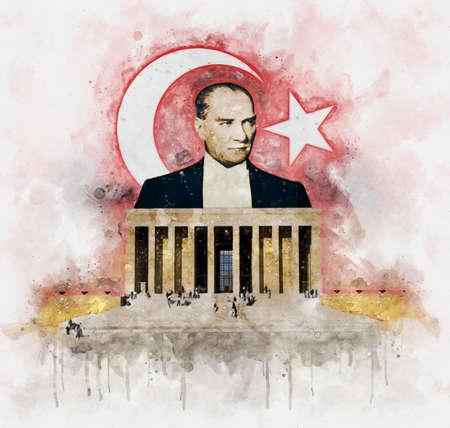 Watercolor illustration of Mustafa Kemal Ataturk behind Anitkabir Mausoleum with turkish flag on background Editöryel