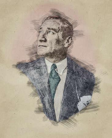 Pencil sketch portrait illustration of Mustafa Kemal Ataturk Stok Fotoğraf