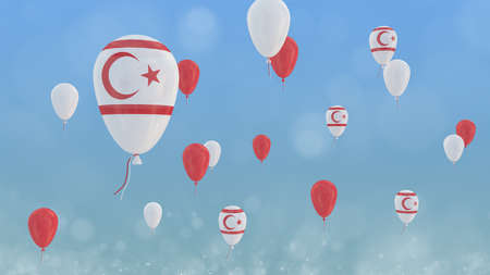 3D render of baloons with northern cyprus flag floating in front of a clear blue sky