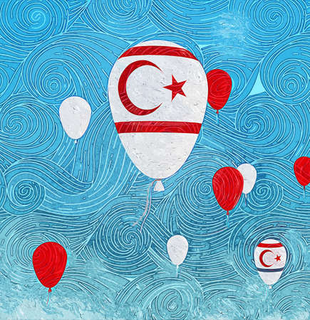 Stylish oil painting of baloons with northern cyprus flag floating in front of a clear blue sky