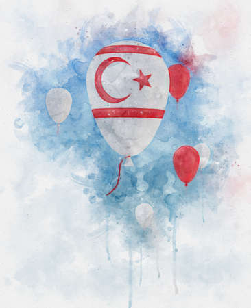Watercolor illustration of baloons with northern cyprus flag floating in front of a clear blue sky Stok Fotoğraf