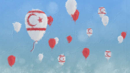 Oil painting of baloons with northern cyprus flag floating in front of a clear blue sky Stok Fotoğraf