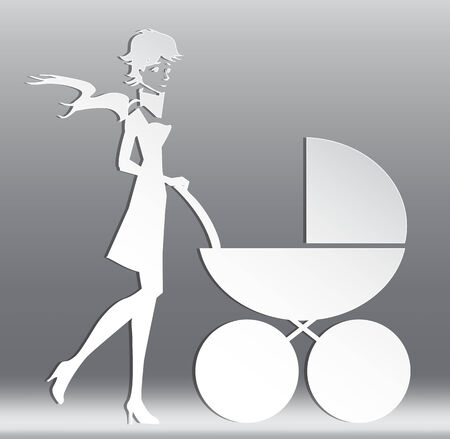 mother with a carriage vector Vector