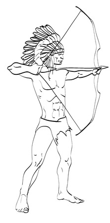 american Indian bow Illustration