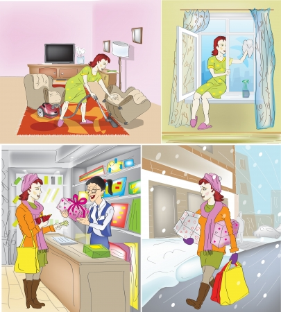 cleaning up: house-owner cleaning up of house preparation to the holiday Illustration