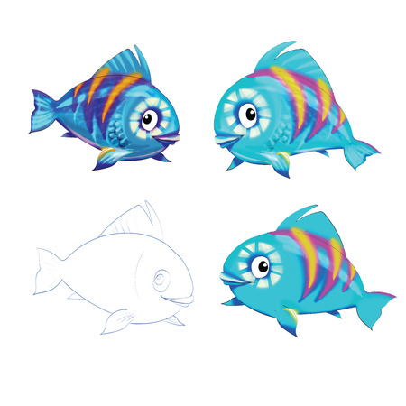 goldfish jump: blue fish cartoon  Illustration