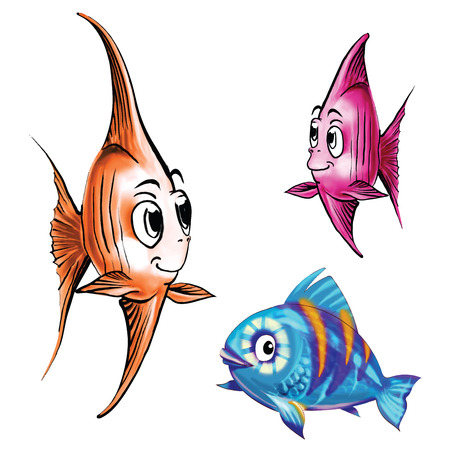 goldfish jump: fish cartoon blue pink gold vector Illustration