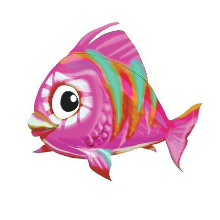 goldfish jump: fish cartoon pink