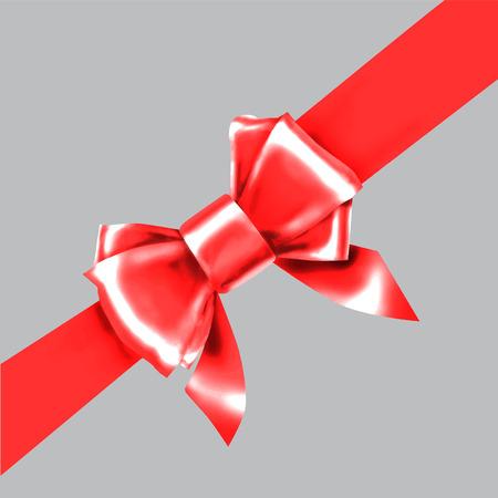red bow ribbon: Red bow ribbon gift vector
