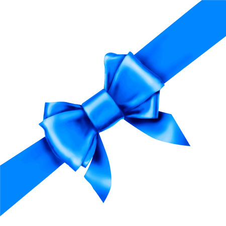 blue bow ribbon gift vector