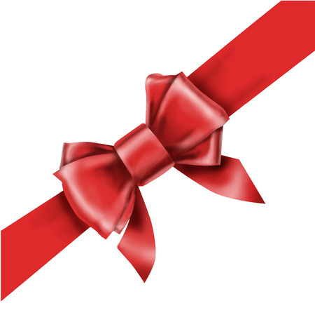 gift ribbon: Red bow ribbon gift vector