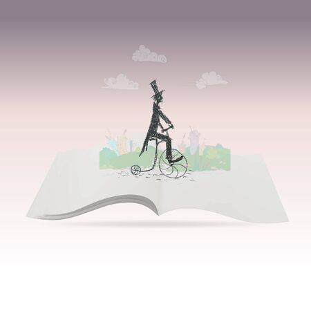 englishman: old bicyclist on a bicycle vector