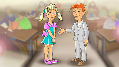 children only: vector girl and boy friends in the classroom