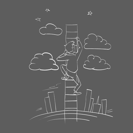clambering: vector man climbs the stairs not the sky