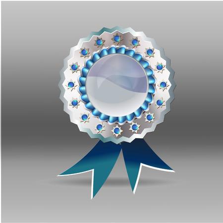 silver medal: vector silver medal blue ribbon