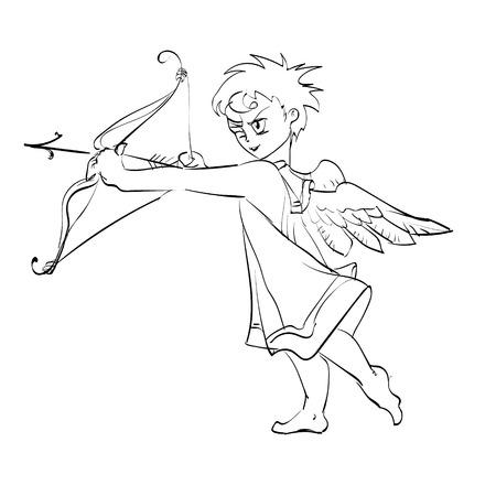 shoots: vector cupid shoots a bow