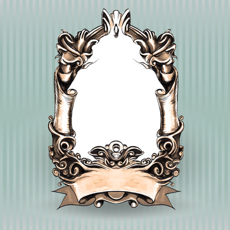 drawing hand vintage frame baroque elements for advertising in vintage style, ornament, to frame the logo or text scrolling list Black and white Illustration