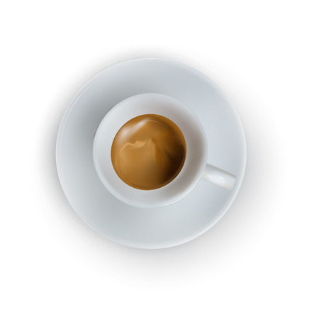 vector cup of espresso coffee, top view, saucer, spoon Çizim
